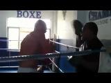 Очередная тренировка на лапах Джуниора Дос Сантоса со своим тренером по боксу